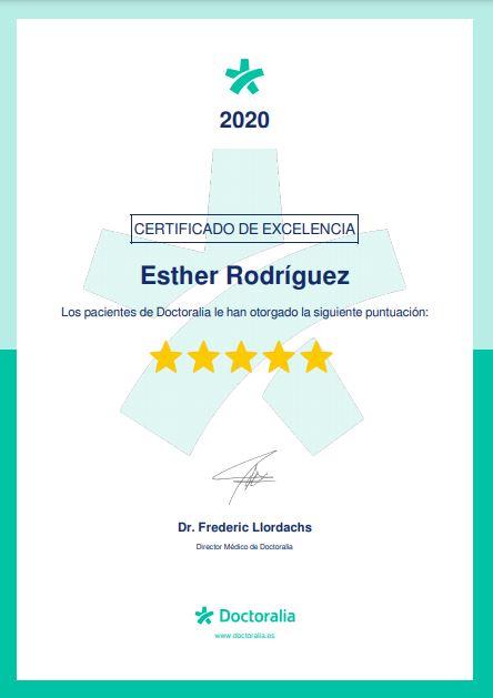 Certificado de excelencia de draestherrodriguez